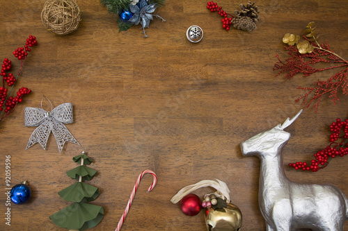 christmas ornaments and objects with room for words or greeting