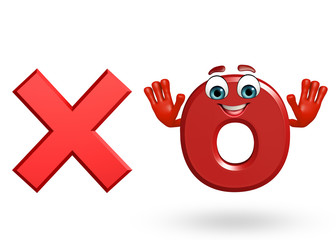 Cartoon Character of alphabet O with cross sign