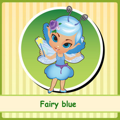Fairy in blue dress - hand-drawn illustration