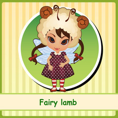 Fairy lamb - cute girl in brown dress