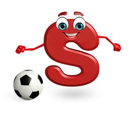 Cartoon Character of alphabet S with football