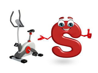 Cartoon Character of alphabet S with exercising machine