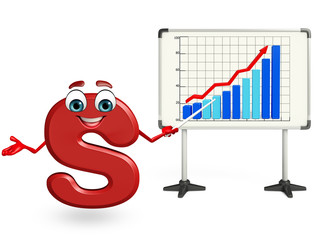 cartoon character of S with business graph