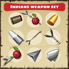 Indians weapon set. Traditional weapon with other objects