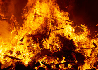 Fallas fire burning in Valencia fest at March 19 th
