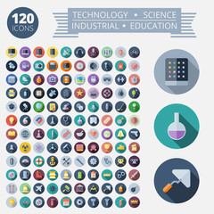 Flat Design Icons For Technology and Science