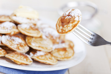 Dutch food: 'Poffertjes' or little pancakes