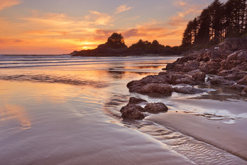 Sunset over the beach of Cox Bay, Vancouver Island, Canada