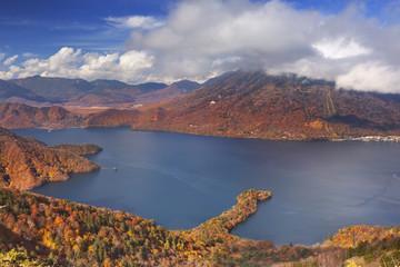 Lake Chuzenji, Japan in autumn from above