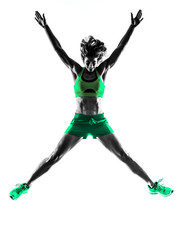 Wall Mural - woman fitness jumping silhouette