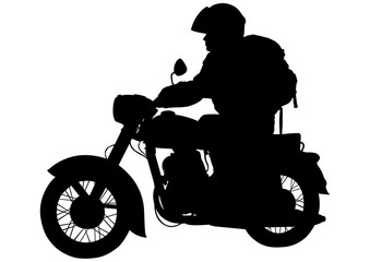 Wall Mural - Motorcyclist on bike on a white background
