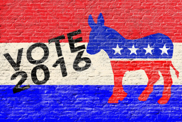 2016 Democratic party elections banner on brick wall
