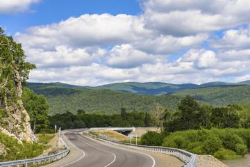 The highway between the hills .
