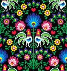 Seamless Polish folk art pattern with roosters - Wzory Lowickie, Wycinanka - fototapety na wymiar