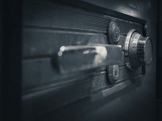 Safe lock code on safety box bank perspective