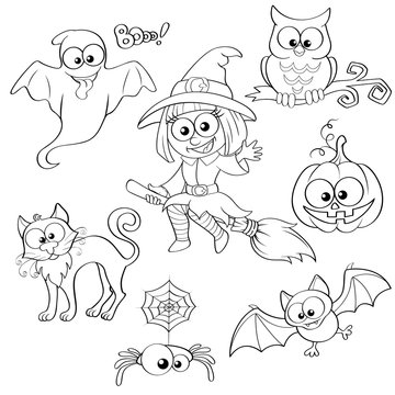 Set of Halloween elements. Black and white vector illustration for coloring book