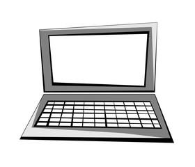 Vector cartoon image of a laptop