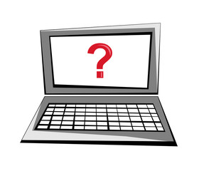 Vector cartoon image of a laptop with a question mark on the screen