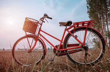 beautiful landscape image with Bicycle at sunset ; vintage filte