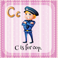 Flashcard letter C is for cop
