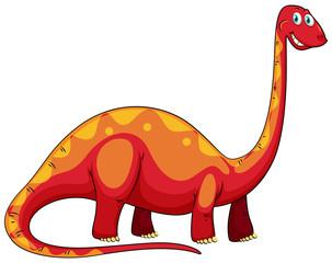 Long neck red .dinosaur on white