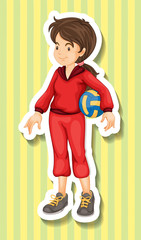 Woman in jumpsuit holding volleyball