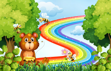 Animals in the park with rainbow background