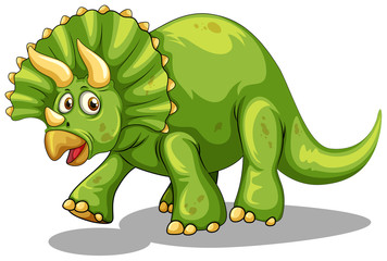 Green dinosaur with horns