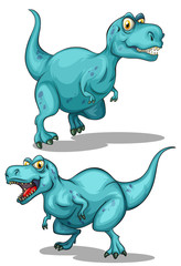 Blue dinosaur with sharp teeth