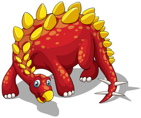 Red dinosaur with yellow spikes on white.