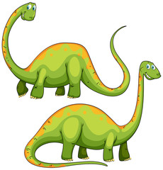 Two green dinosaurs smiling.