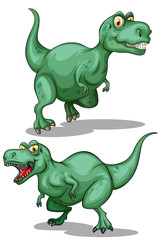 Two green dinosaurs on white