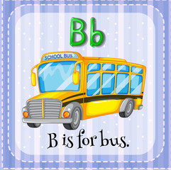 Flashcard letter B is for bus.