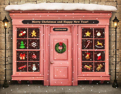 Christmas festive illustration or poster with storefront items Christmas or New Year