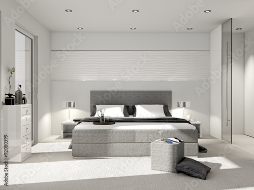 modernes schlafzimmer mit boxspringbett stockfotos und. Black Bedroom Furniture Sets. Home Design Ideas