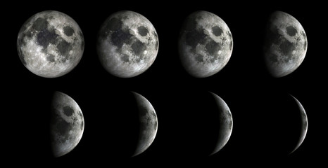 Moon Phases.Elements of this image furnished by NASA