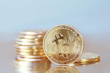 Studio shot of a golden Bitcoin coin (new virtual money )