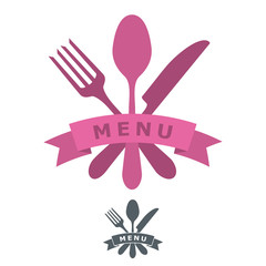 Simple menu or restaurant logo or icon with vector cutlery items such as fork, knife and spoon. Ribbon. Banner for text adding / Restaurant Silverware icons - Cutlery set