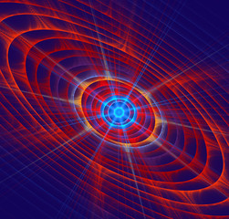 illustration background fractal star with rays and circles