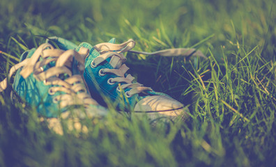 Tenisówki w trawie.