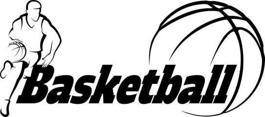 Basketball Drive to Basket with Stylized ball with word Basketba