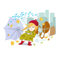Girl with umbrella in a bad weather comes in the autumn city