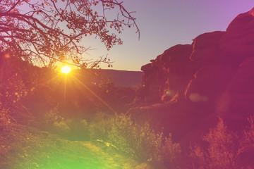 Poster Crimson Mountains on sunset