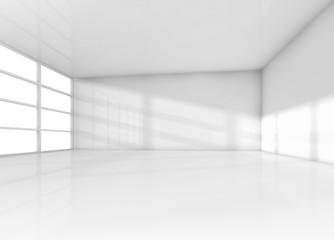 Abstract interior, white empty room with daylight