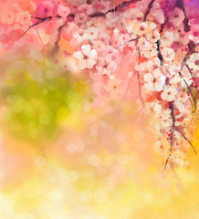 Watercolor Painting Cherry blossoms - Japanese cherry - Sakura floral in soft color over blurred nature background. Spring flower seasonal nature background with bokeh