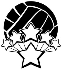 Black and white illustration of a volleyball with five stars exploding our of a larger star.