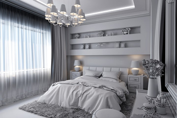 3D illustration of a white bedroom in classical style