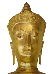 Isolated Golden Budda Head with Crown
