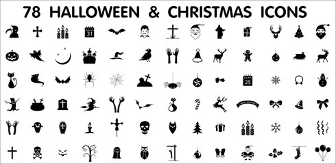 78 halloween and christmas icons