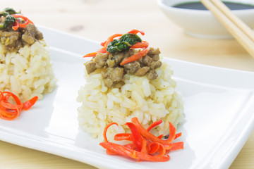 Rice Topped with Stir-Fried Pork and Basil Close Up